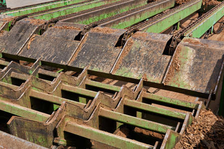 fragment of the feeding mechanism of an old sawmill close up