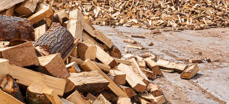 huge pile of firewood chocks lies on concrete outdoor Banco de Imagens