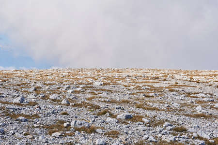 deserted alpine plateau covered with dry grass and white stones 版權商用圖片