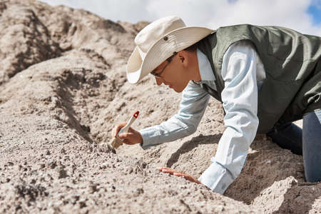 man paleontologist or archaeologist cleans the find with a brush in the desert