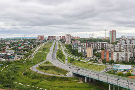 Perm, Russia - June 21, 2020: view of the bypass road between the city and the suburbs