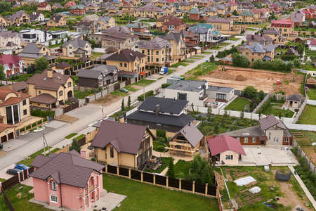 Perm, Russia - June 21, 2020: preparation of a site for the construction of a cottage in a suburban neighborhood, top view 新聞圖片