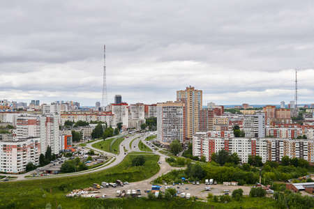 Perm, Russia - June 21, 2020: general view of a commuter town with a multi-storey building