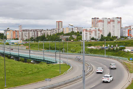 Perm, Russia - June 21, 2020: section of a bypass road with a bend and an overpass