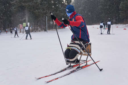 Perm, Russia - December 12, 2020: athlete with a disability trains for the paralympic cross-country sit-skis competition on a track in the forest