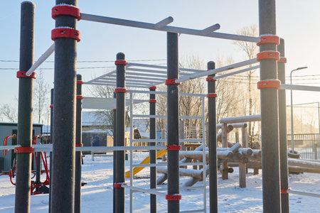 public outdoor sports playground on a frosty winter day Reklamní fotografie