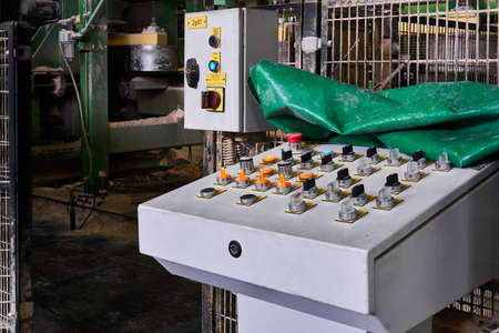 Perm, Russia - August 12, 2020: control panel for an automated production line at a modern sawmill