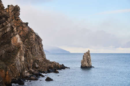 seascape with steep inaccessible coastal cliffs