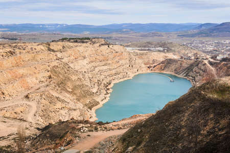 worked out stone quarry, converted into water reservoir for agricultural needs in Crimea 스톡 콘텐츠