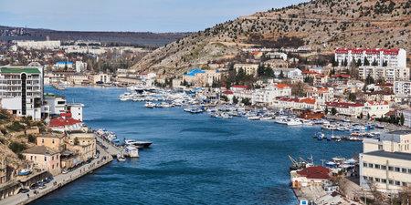 Sevastopol, Crimea - February 02, 2021: winter view of the harbor in Balaklava Bay
