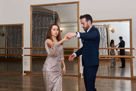 adult couple training dance classical partner dance 스톡 콘텐츠
