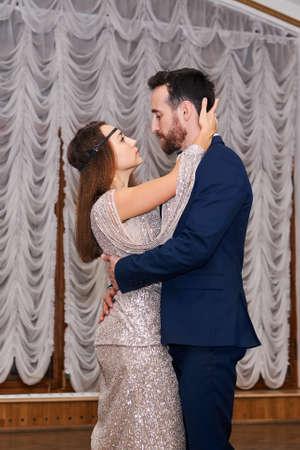 man and woman dancing gentle sensual dance indoor 스톡 콘텐츠