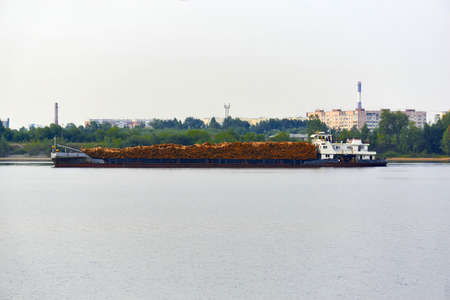 river timber carrier ship loaded with logs moves past the urban shore