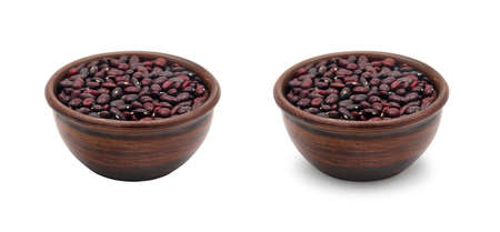 simple ceramic bowl with red beans isolated on white background with shadow and no shadow