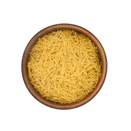 short noodles in simple clay bowl isolated on white background, top view