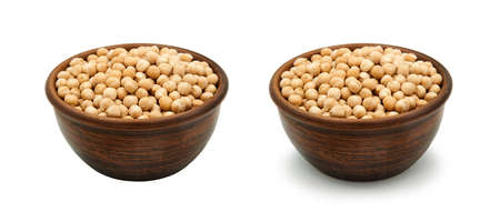 chickpea in simple clay bowl on white background, isolated and with shadow