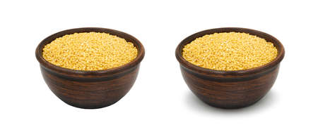 red millet in simple clay bowl on white background, isolated and with shadow Archivio Fotografico
