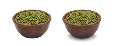 mung beans in simple clay bowl on white background, isolated and with shadow