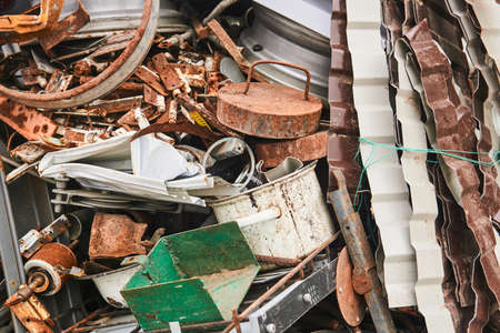 pile of various metal waste before recycling Archivio Fotografico