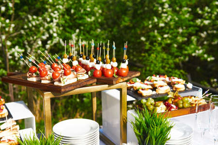 buffet in the open air - table with canapes on cocktail sticks against the background of flowering trees Archivio Fotografico
