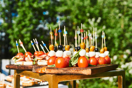buffet in the open air - canapes on cocktail sticks close-up against the background of flowering trees
