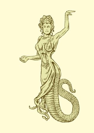intriguing: mythological figure with intriguing features beauty and snake tail.