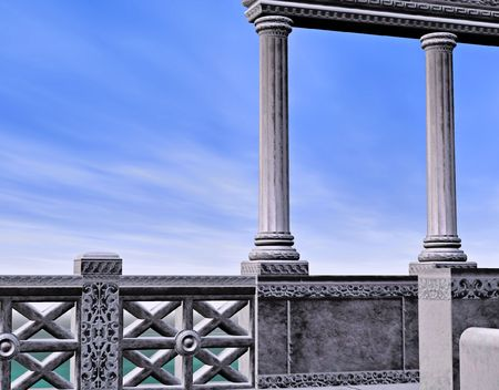 slammer: A marble greek style bath house backed with a beautiful blue sky and moon. Stock Photo