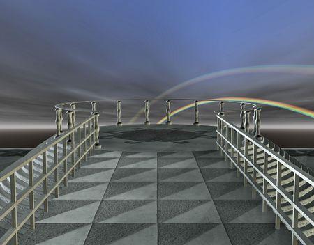 A bridge extending out towards a patio overlooking a distant storm.