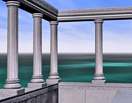 symbolization: Columns and marble wall over-looking a calm sea.