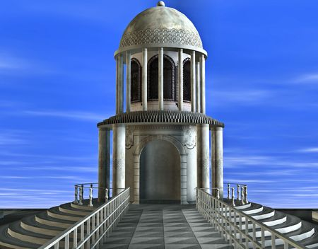 symbolization: Stairs leading up to a large marble temple backed with a beautiful blue sky.