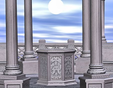 alter: A stone gazebo surround by columns.