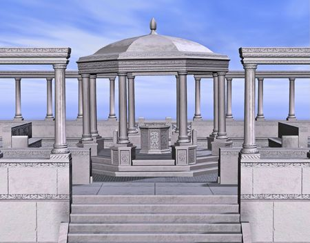 A stone gazebo surround by columns.