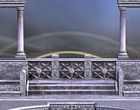 Marble columns and wall over looking a beautiful rainbow off in the distance. Imagens