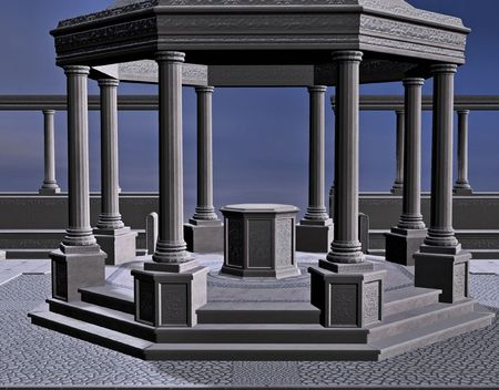 surround: A stone gazebo surround by columns.