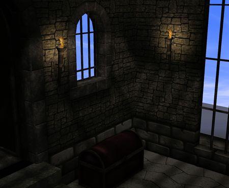 cella carcere: Un oscuro e musty carcere cella.
