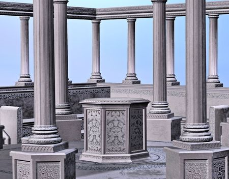 A stone alter surrounded by columns.