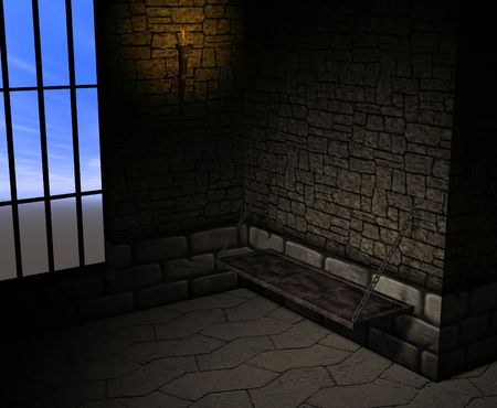 A dark and musty prison cell. photo