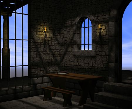 A dark and musty stone prison with bars on the windows and torches for light. photo