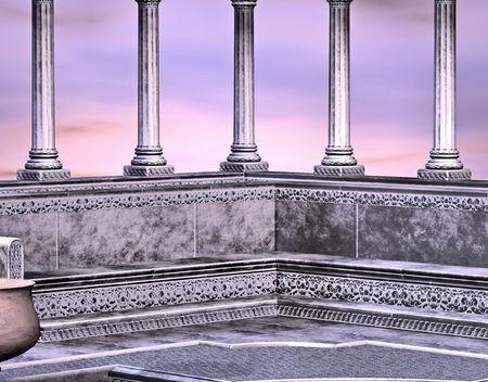 대리석 그리스어 스타일 목욕 집 아름 다운 일출과 함께 백업합니다.