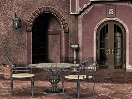 courtyard: A quiet italian courtyard perfect for a romantic dinner or afternoon tea.