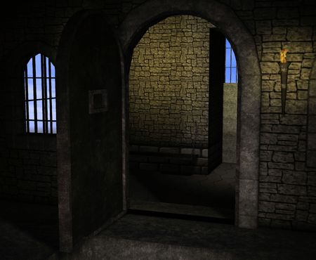 prison: A dark and musty stone prison with bars on the windows and torches for light.