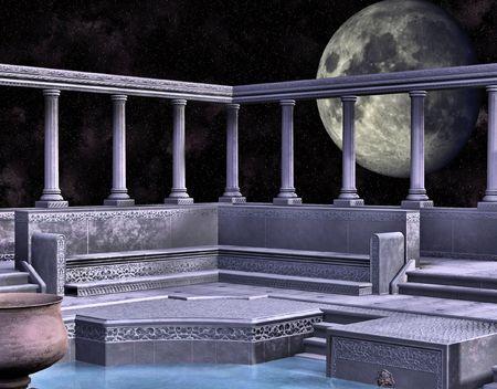 대리석 그리스어 스타일 목욕 집 큰 보름달에 의해 뒷받침.