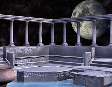 A marble greek style bath house backed by a large full moon.