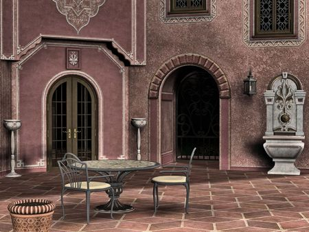 patio chair: A quiet italian courtyard perfect for a romantic dinner or afternoon tea.