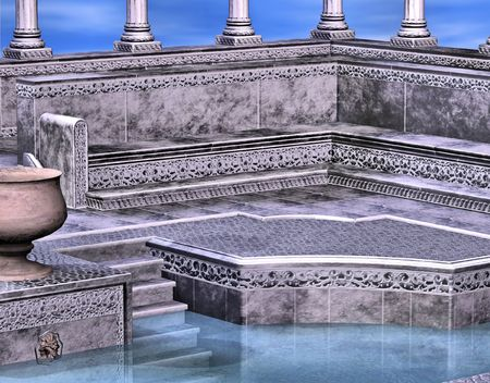 A marble greek style bath house backed with a beautiful blue sky.