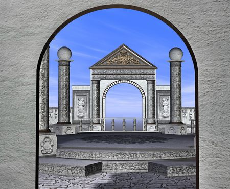 slammer: Looking in through the doorway of a beautiful stone plaza. Stock Photo