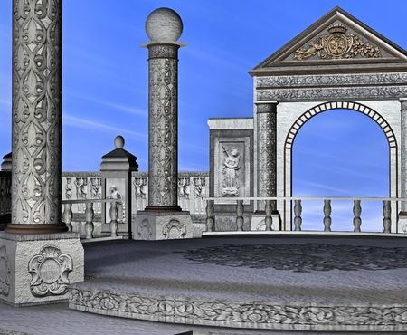 plaza: A beautiful stone plaza, with carved columns and archways.