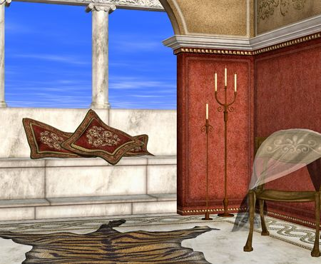 siesta: A roman style room perfect for lazy days relaxing in the sun.