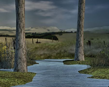 brook: A spring brook on a open prairie. Stock Photo