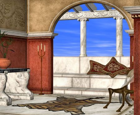 porch chair: A roman style room perfect for lazy days relaxing in the sun.